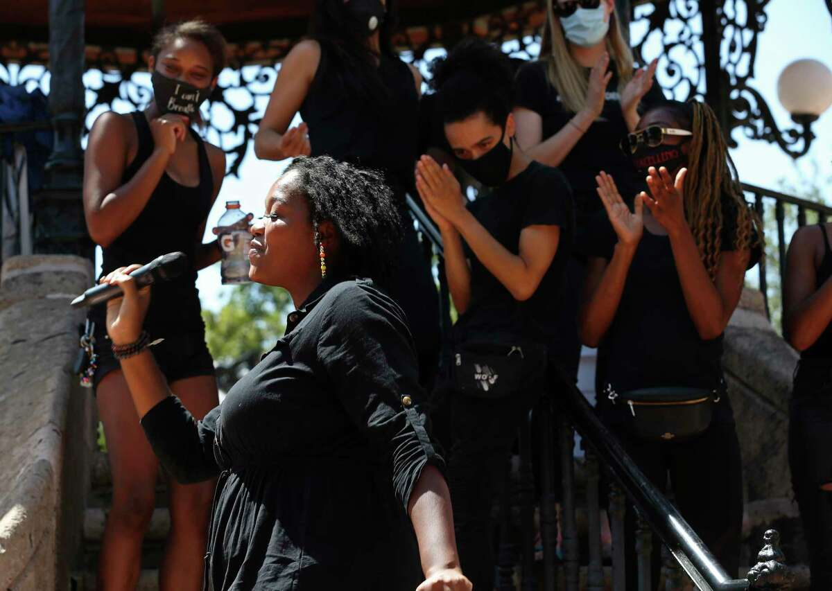 Jourdyn Parks, with Reliable Revolutionaries, entertains the crowd before the start of a news conference by a coalition of Black community organizers at Milam Park. The group was speaking against the city's proposed increase in the police budget.