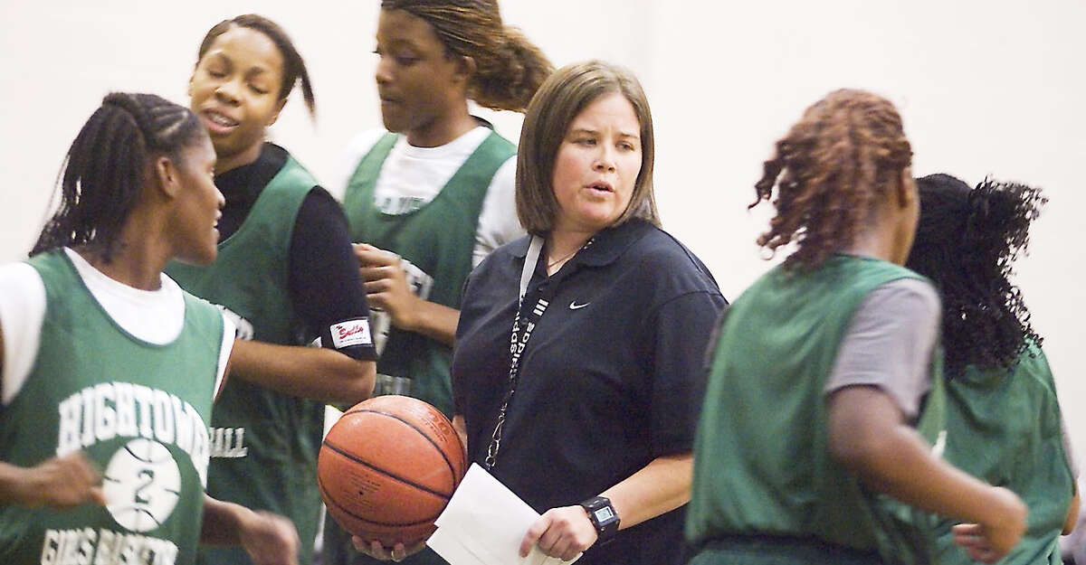 Deborah Mize leads her team in a press break drill at practice Monday. The Lady Hurricanes begin the season as the No. 10-ranked team in the Texas Association of Basketball Coaches poll.