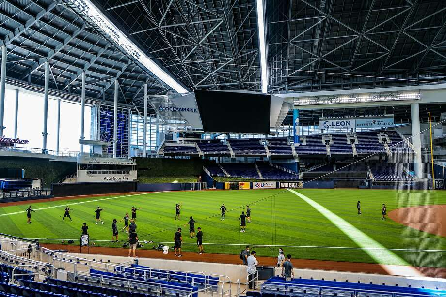 Marlins players work out at Marlins Park during summer workouts on July 03. Little did they know their home opener wouldn't be until Friday because of a coronavirus outbreak. Photo: Mark Brown / Getty Images / TNS