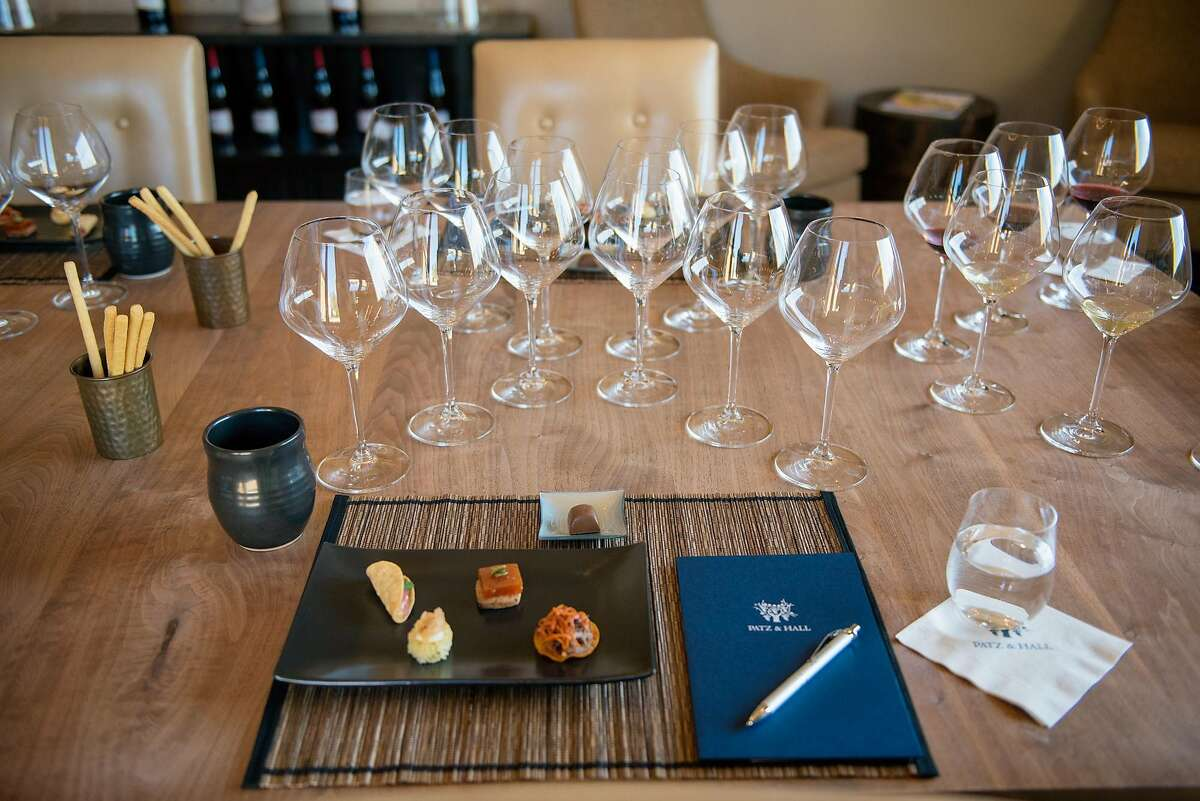 The table is set in the tasting room at Patz and Hall winery in Sonoma, on Saturday, April 14, 2018.