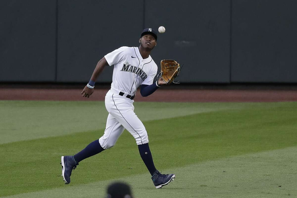 Seattle Mariners right fielder Kyle Lewis in action against the Los Angeles Angels in a baseball game Wednesday, Aug. 5, 2020, in Seattle. The Mariners won 7-6. (AP Photo/Elaine Thompson)