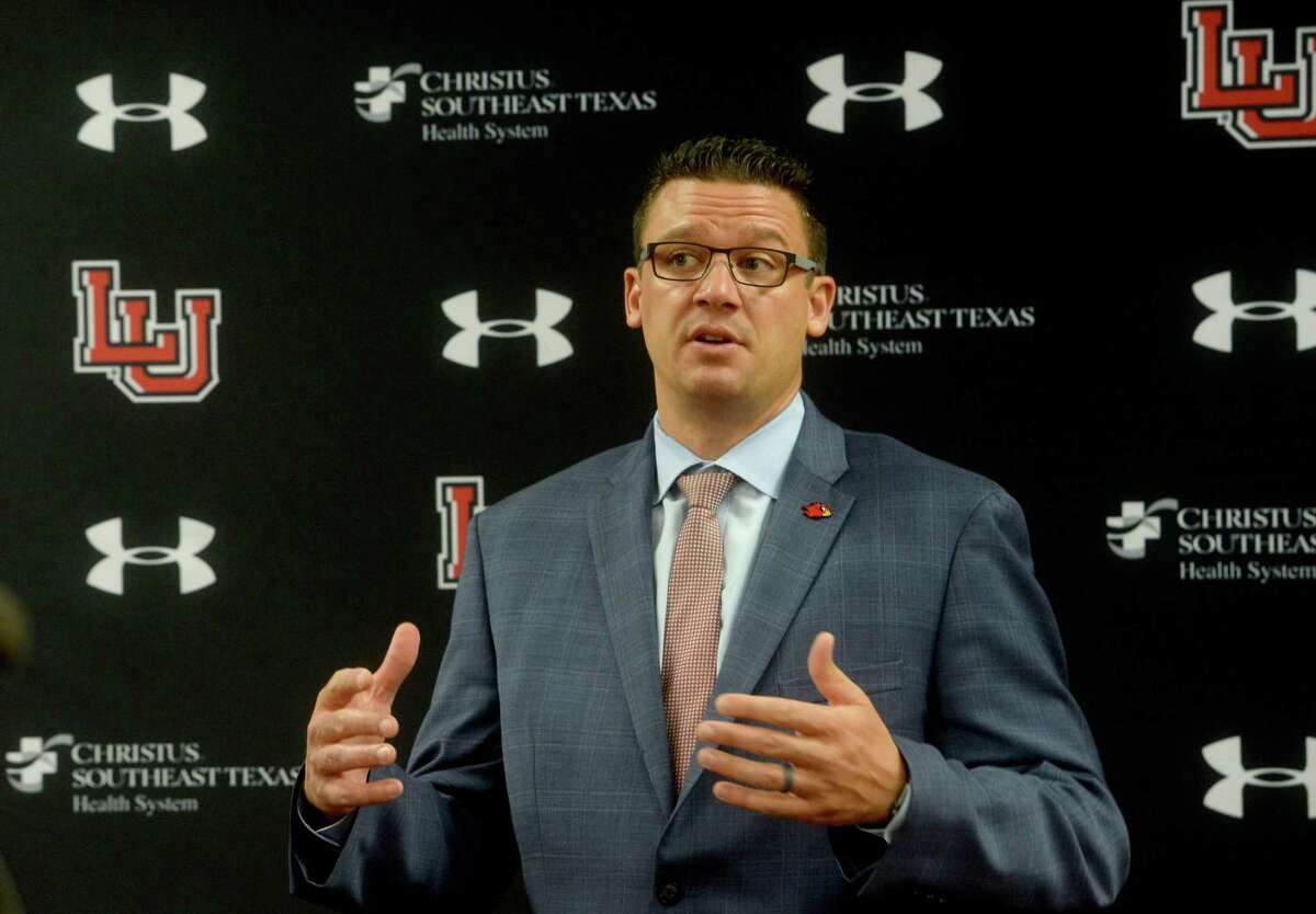 Marco Born, director of athletic at Lamar University speaks during a press conference to announce the Southland Conference decision Thursday morning to postpone fall season games unntil the spring. Lamar will now decide what, if any, non-conference games it may play this fall and are working on keeping athletes healthy, not just physically but mentally, as they deal with the changes. Photo taken Thursday, August 13, 2020 Kim Brent/The Enterprise