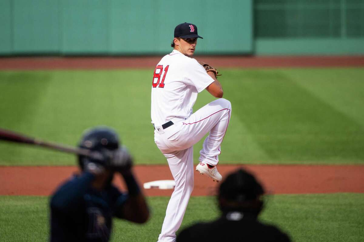 BOSTON, MA - AUGUST 13: Kyle Hart #81 of the Boston Red Sox pitches during the first inning against the Tampa Bay Rays at Fenway Park on August 13, 2020 in Boston, Massachusetts. (Photo by Kathryn Riley/Getty Images)