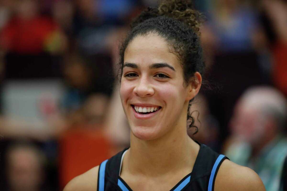 CANBERRA, AUSTRALIA - JANUARY 26: Kia Nurse smiles following the round 15 WNBL match between the UC Capitals and Sydney Uni Flames at the National Convention Centre on January 26, 2020 in Canberra, Australia. (Photo by Brent Lewin/Getty Images)