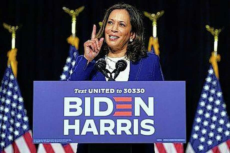 Sen. Kamala Harris, D-Calif., speaks Wednesday after Democratic presidential candidate and former Vice President Joe Biden introduced her as his running mate during a campaign event at Alexis Dupont High School in Wilmington, Delaware. Photo: Carolyn Kaster | Associated Press