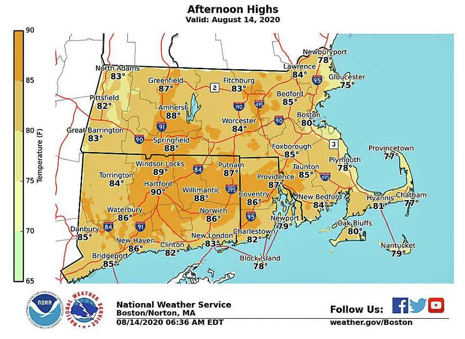 High temperatures Friday will be near seasonable in the low to mid 80s. It also will feel less muggy than it has for the past several days. Photo: National Weather Service Graphic