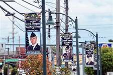These banners of military veterans -- past and present -- are examples of what can be expected in downtown Big Rapids this November. Artworks and the city of Big Rapids have teamed up with local veterans groups to launch the Big Rapids Hometown Hero Banner program. (Courtesy photo)