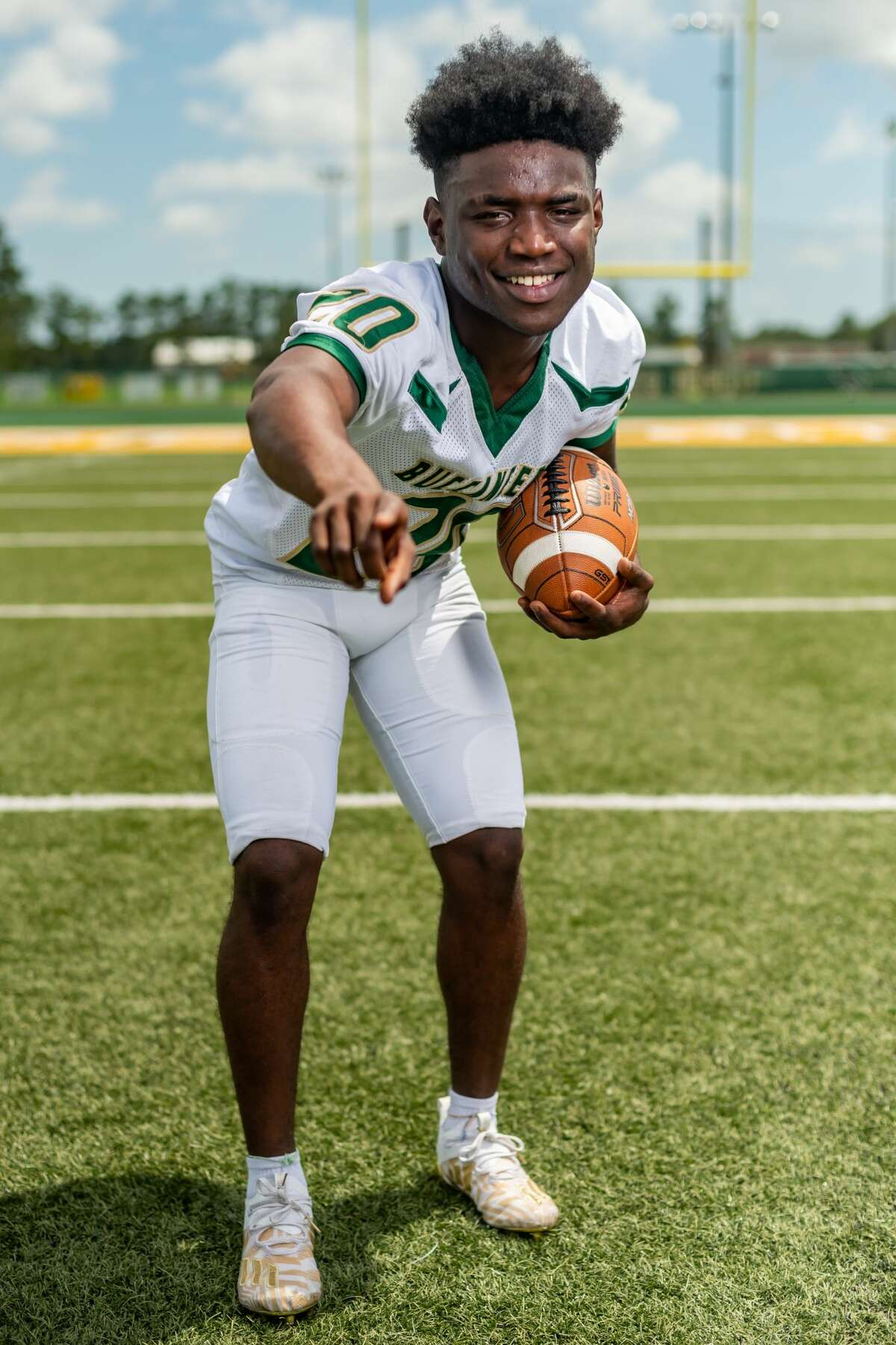 East Chambers Buccaneer Ernest Caesar stands for a portrait on the football field. Photo made on August 12, 2020. Fran Ruchalski/The Enterprise