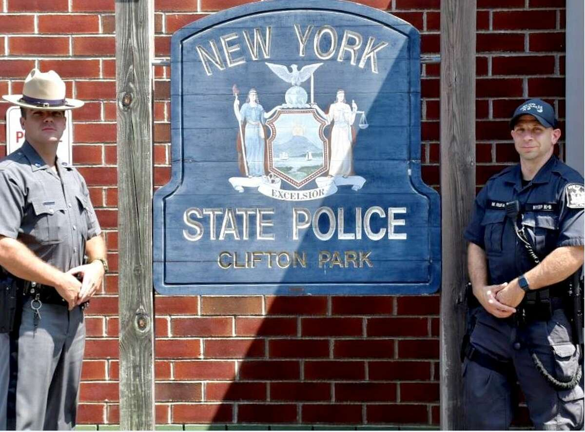 Trooper Kyle Conlon of the State Police barracks inClifton Park and Trooper Matthew Rufa of the State Police patrol on theNorthwaysaved a 2-month-old baby who stopped breathing at a home in Clifton Park.