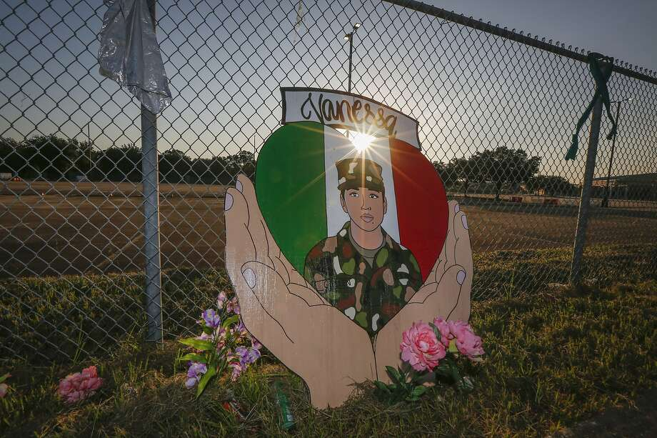 A small memorial for U.S. Army Specialist Vanessa Guillen is set up around Cesar Chavez High School Friday, Aug. 14, 2020, in Houston. Photo: Steve Gonzales, Staff Photographer