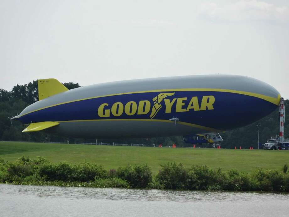 Recent pictures of the Goodyear Blimp on Wingfoot Lake in Akron, Ohio. The photo was taken by a cousin of Debbie Blaydes Hayes who lives in Akron. Photo: Photo Courtesy The Blaydes Family