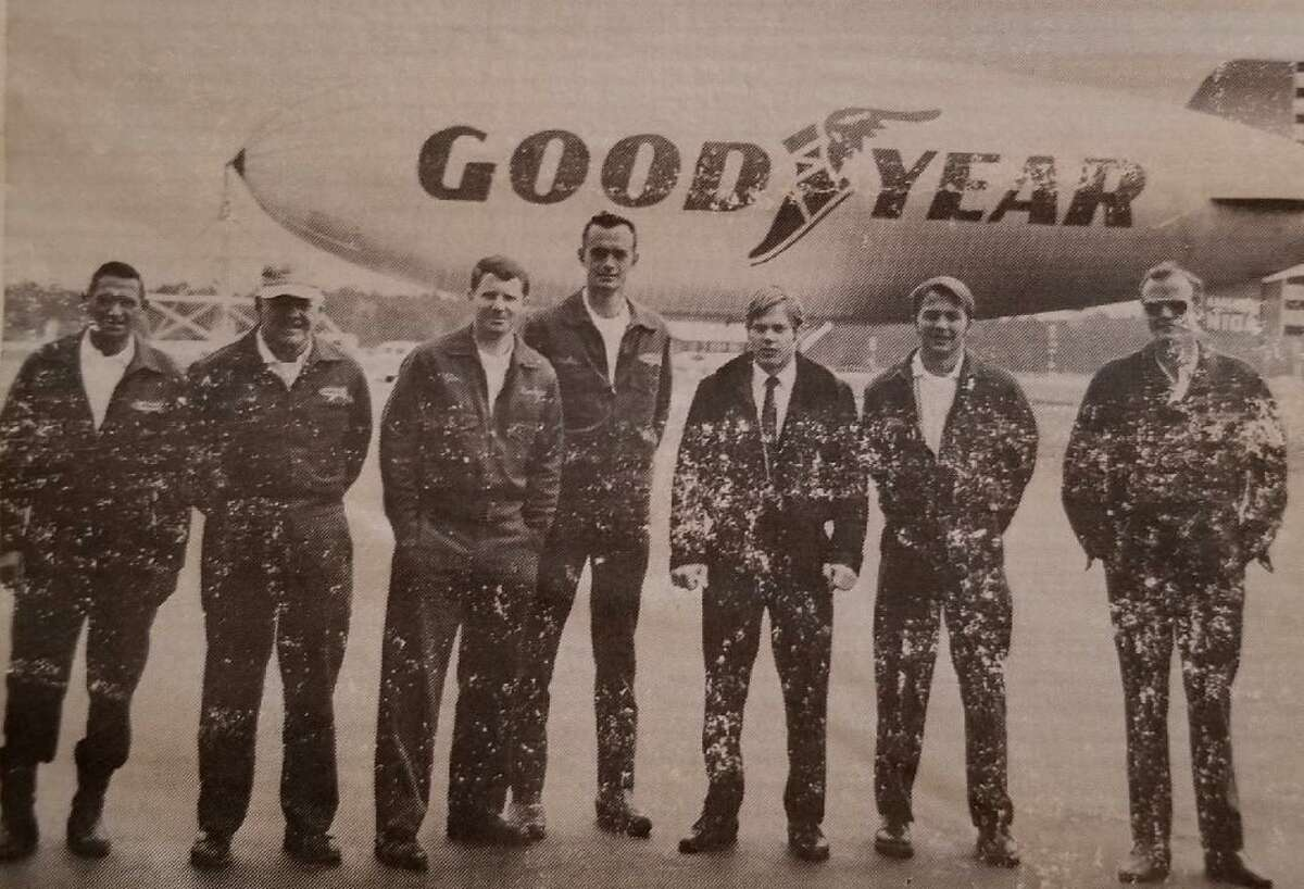 Robert Blaydes, center, with dark hair was a part of the operations crew for the Goodyear Blimp when it was located in Spring. He brought his wife and four children down from Akron, Ohio in 1969 to be a part of the operation.