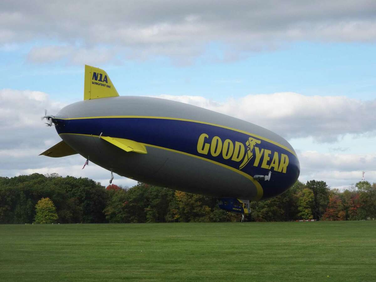 Recent pictures of the Goodyear Blimp on Wingfoot Lake in Akron, Ohio. The photo was taken by a cousin of Debbie Blaydes Hayes who lives in Akron.