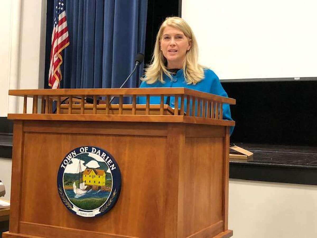 First Selectman Jayme Stevenson, here speaking during the RTM's State of the Town update, has been named to the board of directors of LifeBridge Community Services of Bridgeport.