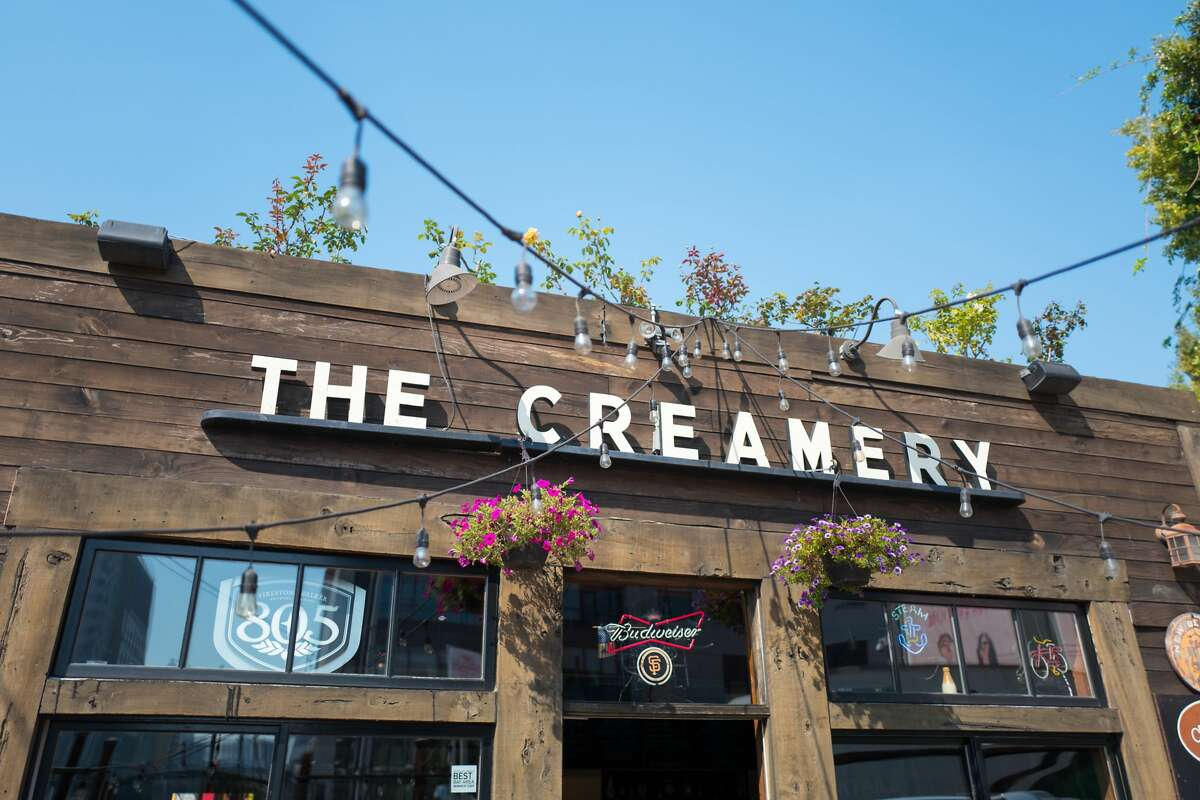 Facade of the Creamery, a restaurant and coffee shop popular with technology startup founders and venture capital investors in the South of Market (SoMa) neighborhood of San Francisco, California, October 13, 2017. (Photo by Smith Collection/Gado/Getty Images)