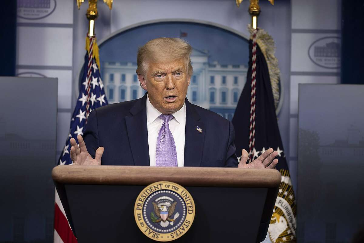 President Donald Trump speaks during a briefing at the White House August 13, 2020 in Washington, DC. The president's net worth has declined $300 million in the past year to $2.7 billion, erasing 10% of his fortune since he took office. (Tasos Katopodis/Getty Images/TNS)