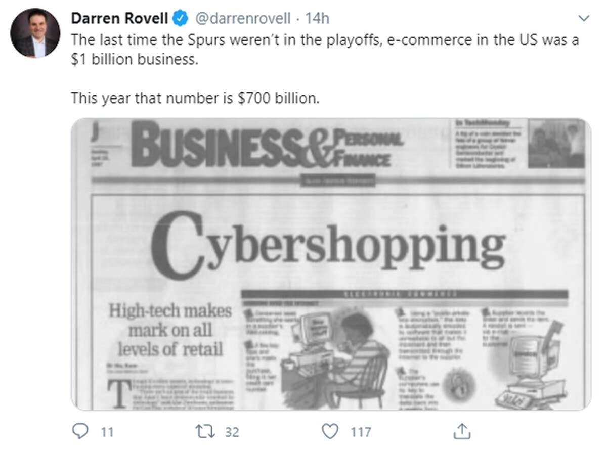 @darrenrovell: The last time the Spurs weren't in the playoffs, e-commerce in the US was a $1 billion business. This year that number is $700 billion.