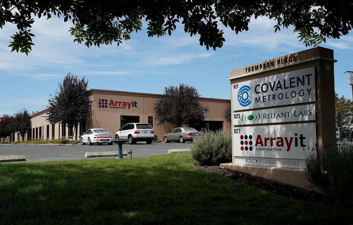 Arrayit Corporation headquarters in Sunnyvale, California, on Thursday, August 13, 2020.