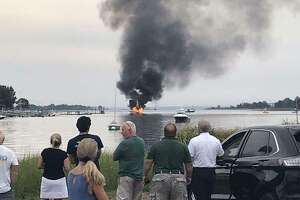 A boat caught fire Thursday evening near Shore & Country Club in Norwalk.