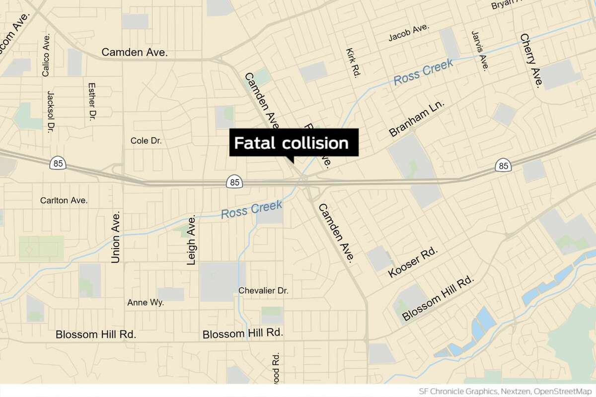A woman died after being ejected from a car in a crash involving three stolen vehicles on northbound Highway 85 south of Camden Avenue, according to the California Highway Patrol.