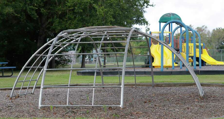 Playground equipment at Lewis Park is seen, Friday, Aug. 14, 2020, in Conroe. Conroe City Council approved a $63,233.89 project to replace the 21-year-old play structures at the park along Park Place. Photo: Jason Fochtman, Houston Chronicle / Staff Photographer / 2020 © Houston Chronicle