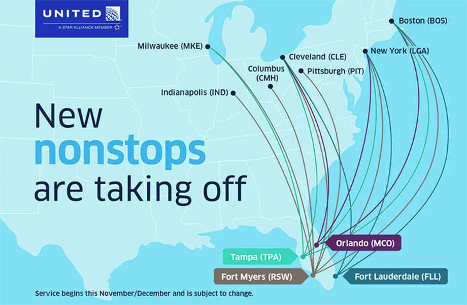 United plans to launch non-hub routes to several Florida cities this winter. Photo: United