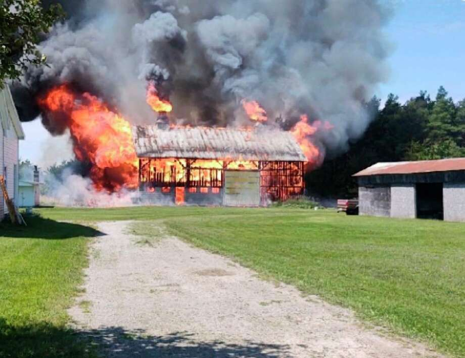 Michigan State Police reported that state police troopers from the Alpena post and firefighters from the Alpena Township Fire Departmentresponded to a structure fire at 6904 Long Lake Road in Alpena Township at about 1:13 p.m. on Thursday.(MSP courtesy photo)