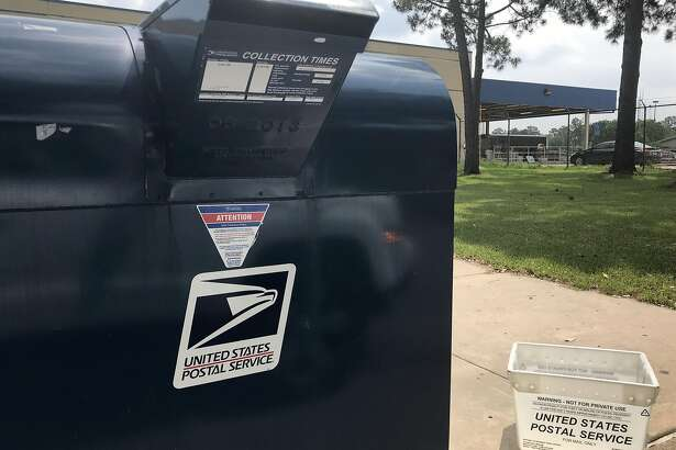 A curbside mail drop off box is shown at the Klein Post Office, 7717 Louetta Rd., Tuesday, May 5, 2020, in Spring.