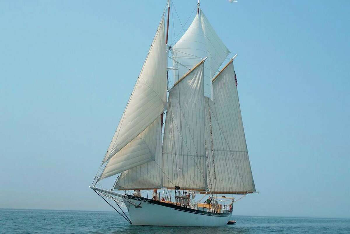 The Appledore, an educational tall ship owned and operated by BaySail in Bay City, struck Port Austin Harbor's west dock in an accidental collision in September of 2019 which lead to subsequent damage ranging upwards of half a million dollars. (BaySail/Courtesy Photo)