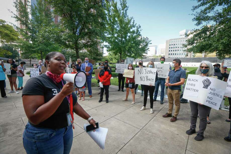 Protesters in Harris County rally in support of criminal justice reform in June. While Sen. Kamala Harris has made history and generated enthusiasm as a vice presidential pick, her career as a prosecutor is also at odds with this moment of police reform. Photo: Steve Gonzales /Staff Photographer / © 2020 Houston Chronicle