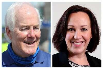 Republican U.S. Sen. John Cornyn and Democrat MJ Hegar.