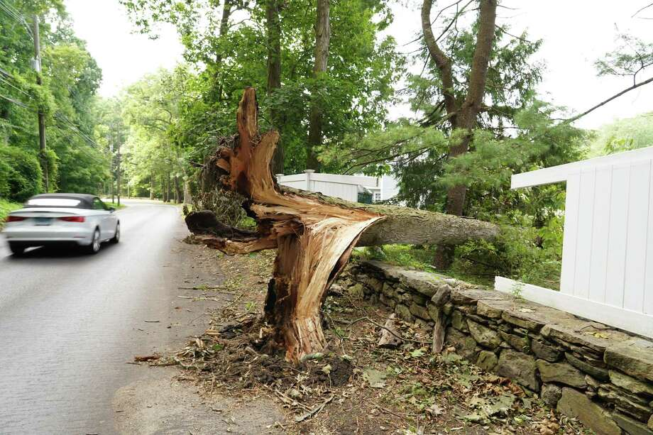 In New Canaan there was still damage apparent on the Sunday after Tropical Storm Isaias hit the state on Tuesday. Photo: Grace Duffield / Hearst Connecticut Media