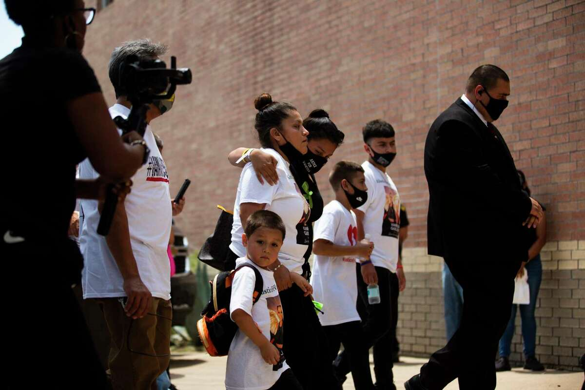 Gloria Guillén accompanied by her children arrives to the Chavez High School to attend a public memorial service for her daughter Army Spec. Vanessa Guillén on Friday, Aug. 14, 2020, in Houston.