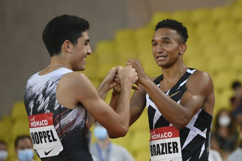 United State's Bryce Hoppel, left, and United State's Donavan Brazier congratulate after the men's 800 meter final of the Diamond League athletics meeting at the Louis II stadium in Monaco Friday, Aug. 14, 2020. (Matthias Hangst /Pool Via AP) Photo: Matthias Hangst/Associated Press