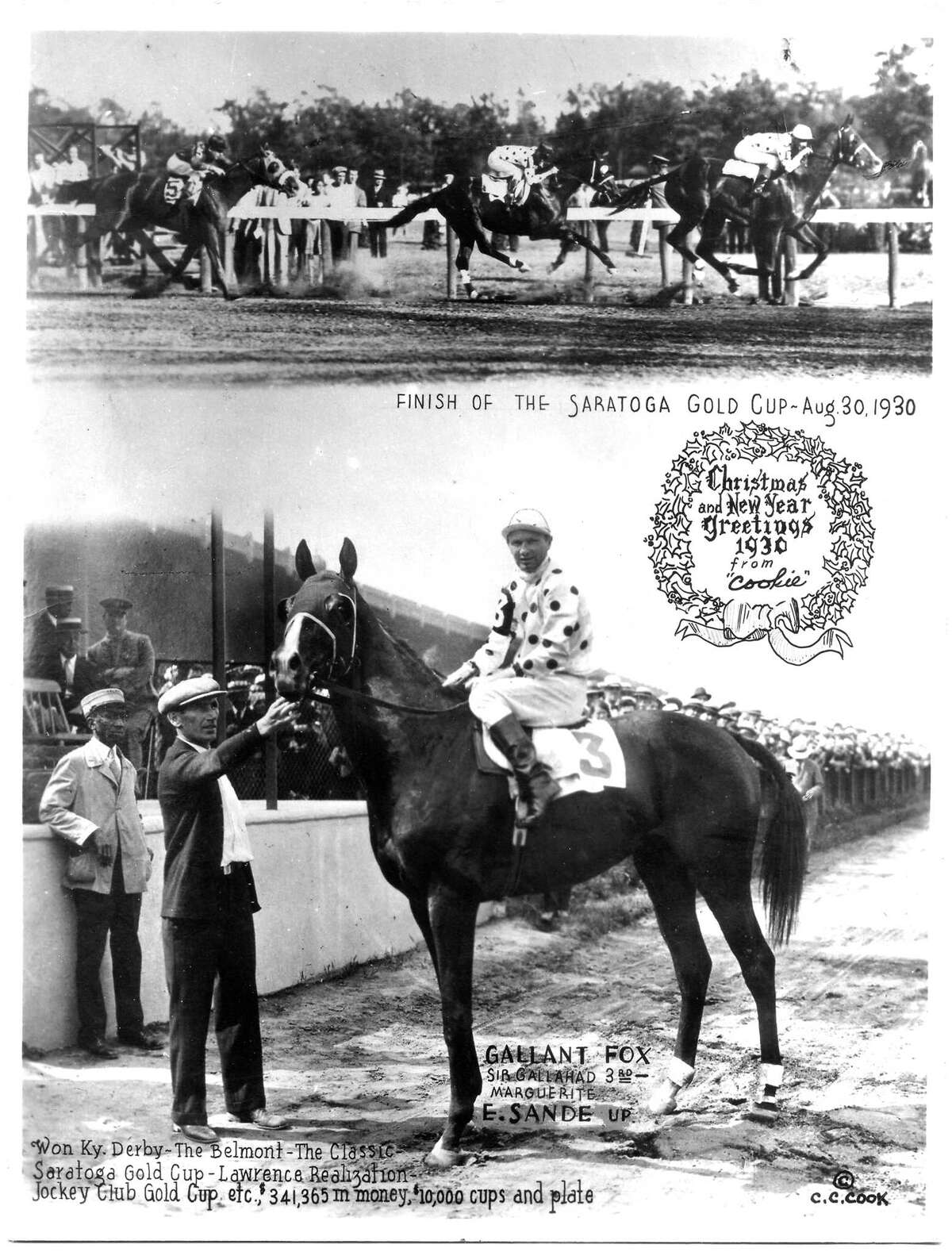 In 1930, Gallant Fox won the Triple Crown, but fell to Jim Dandy in the Travers. Photo courtesy of Museum of Racing, Saratoga. 1930 Triple Crown Winner, Gallant Fox, in a Christmas card from the same year.