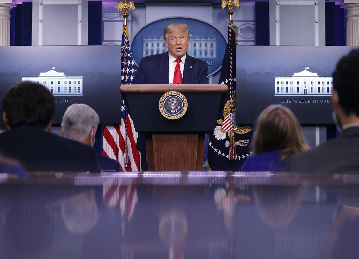 WASHINGTON, DC - AUGUST 14: U.S. President Donald Trump speaks during a news conference in the briefing room of the White House on August 14, 2020 in Washington, DC. Later in the day, President Trump is expected to visit his younger brother Robert Trump who is hospitalized in New York. He will also deliver remarks to the City of New York Police Benevolent Association this evening in Bedminster, New Jersey. (Photo by Alex Wong/Getty Images)