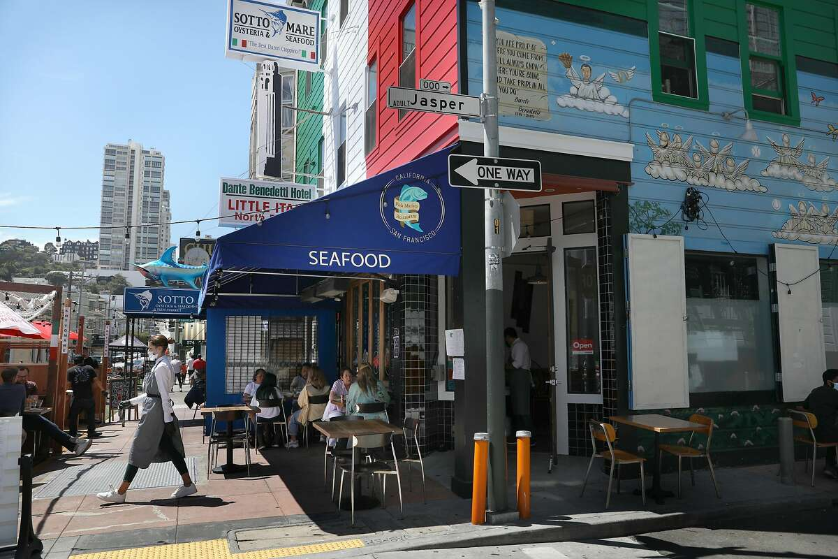 Outdoor dining at the California Fish Market restaurant seen on Thursday, Aug. 13, 2020, in San Francisco, Calif.