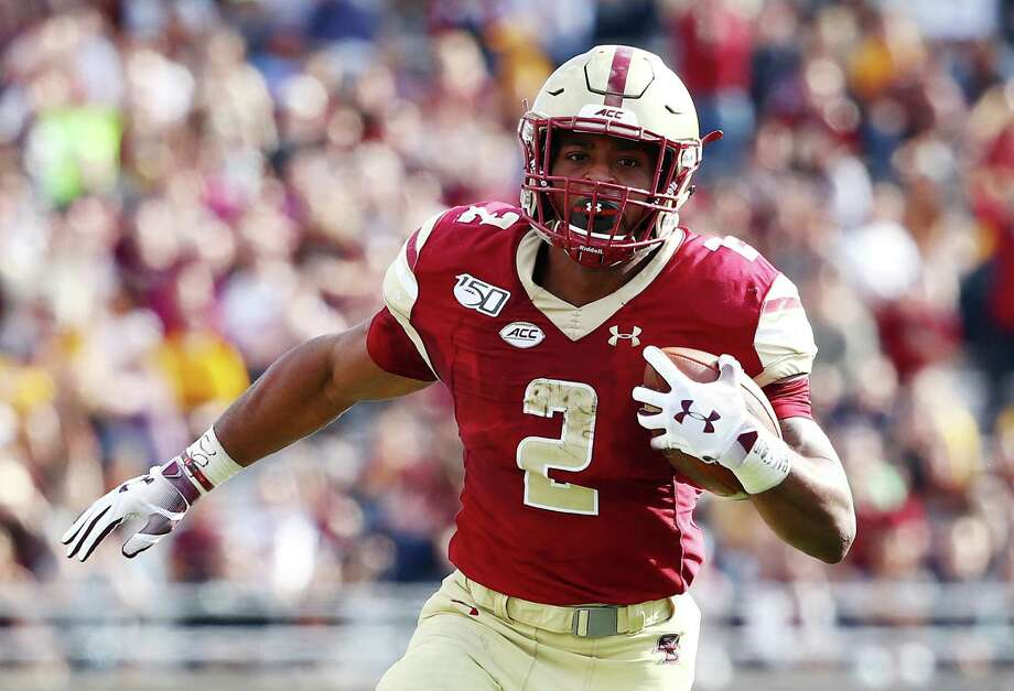 Record-setting Boston College running back A.J. Dillon of New London is a rookie with the Green Bay Packers. Photo: Tim Bradbury / Getty Images / 2019 Getty Images
