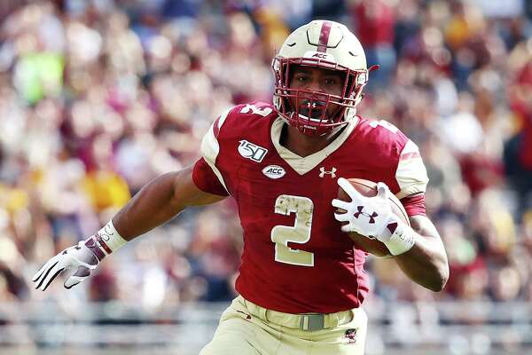 Record-setting Boston College running back A.J. Dillon of New London is a rookie with the Green Bay Packers.