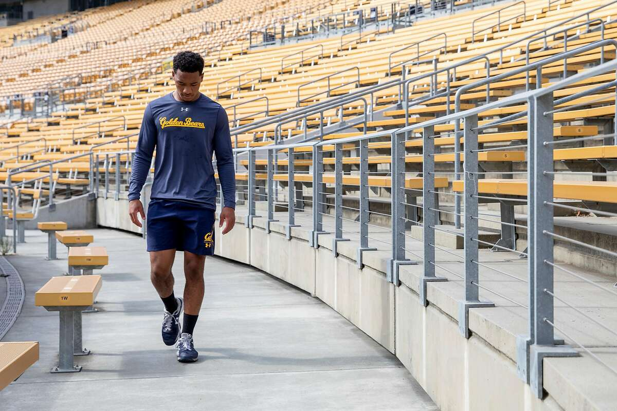 UC Berkeley senior and football cornerback Cam Bynum walks around the field of Cal Stadium at UC Berkeley in Berkeley, Calif. Friday, August 14, 2020. This will bey Bynum's first fall season without football since the 4th grade and feels it will affect his plans to pursue an NFL career.