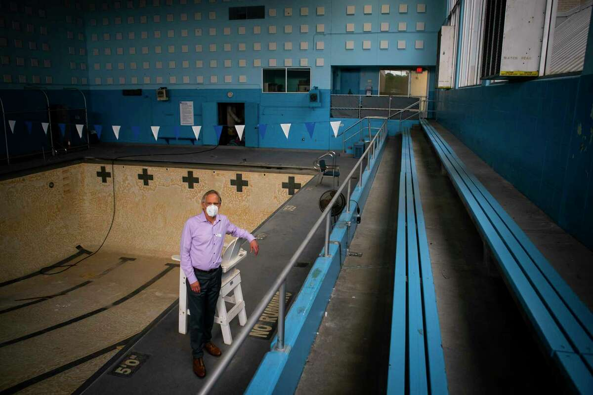 CEO Joel Dinkin inside the former indoor pool facility, Tuesday, July 21, 2020, at the Evelyn Rubenstein JCC in Houston. The JCC is planning a major renovation over the next two years including adding an elevated three-story building and new pool facilities.