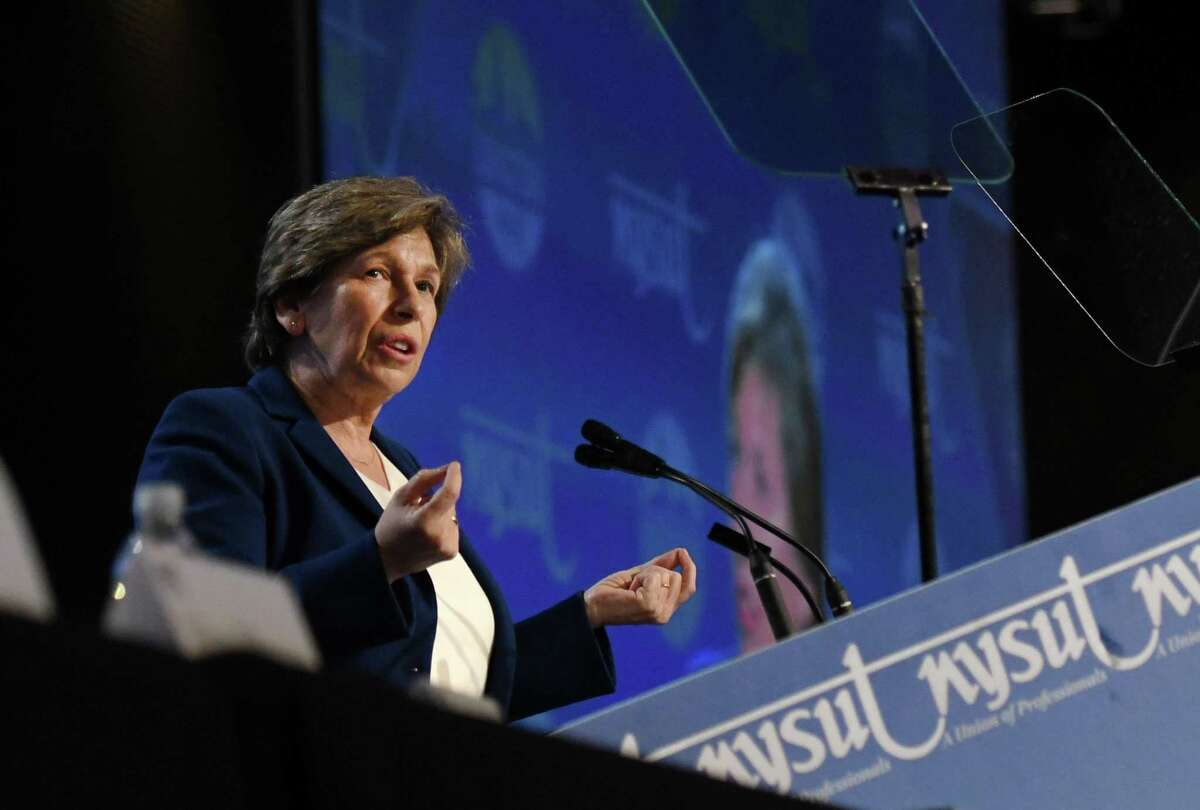 AFT President Randi Weingarten speaks during the NYSUT Representative Assembly on Friday, May 3, 2019 at the Capital Center in Albany, NY. (Phoebe Sheehan/Times Union)