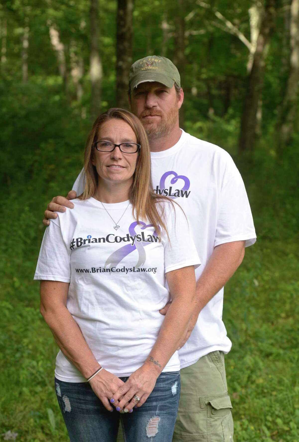 The parents of Brian Cody, Tracey and Tony Morrissey, marked the one year anniversary of his fatal overdose this past Monday. New Milford, Conn, Friday, August 14, 2020.