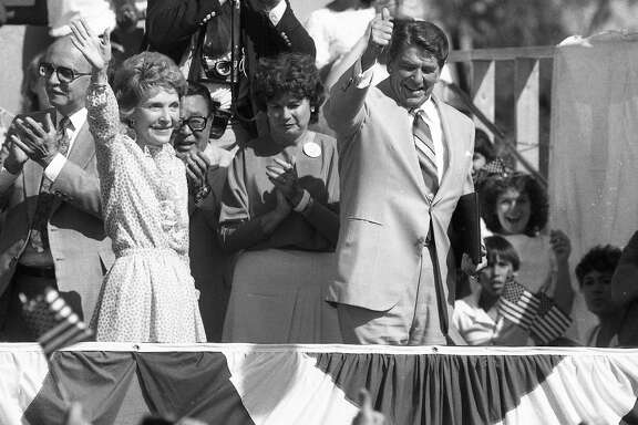 President Ronald Reagan speaks to the crowd at DeAnza College, September 3, 1984