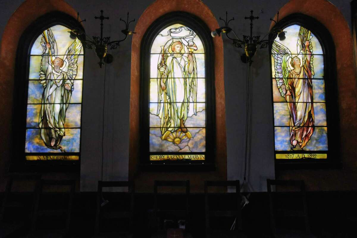 A view of the Tiffany glass windows in the gallery at Bethesda Episcopal Church on Wednesday, Aug. 12, 2020, in Saratoga Springs, N.Y. The windows were created in 1897 and placed inside the church in memory of Rhoby Barnvm Marvin. (Paul Buckowski/Times Union)