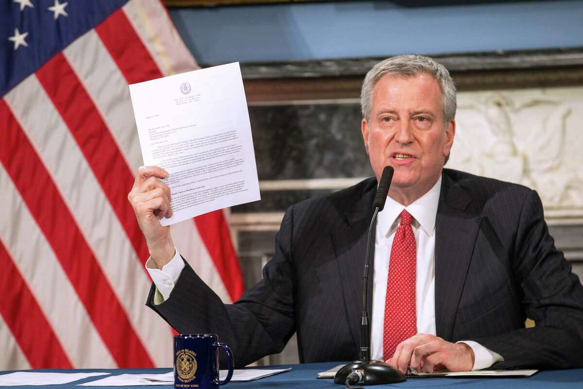 NEW YORK, NY - MARCH 19: Mayor Bill De Blasio speaks during a video press conference on the city's response to the coronavirus (COVID-19) outbreak held at City Hall on March 19, 2020 in New York City. On Oct. 4, 2020 the mayor announced he will request shutting schools and nonessential businesses back down in nine zip codes where COVID-19 is continuing to rise. (Photo by William Farrington-Pool/Getty Images)