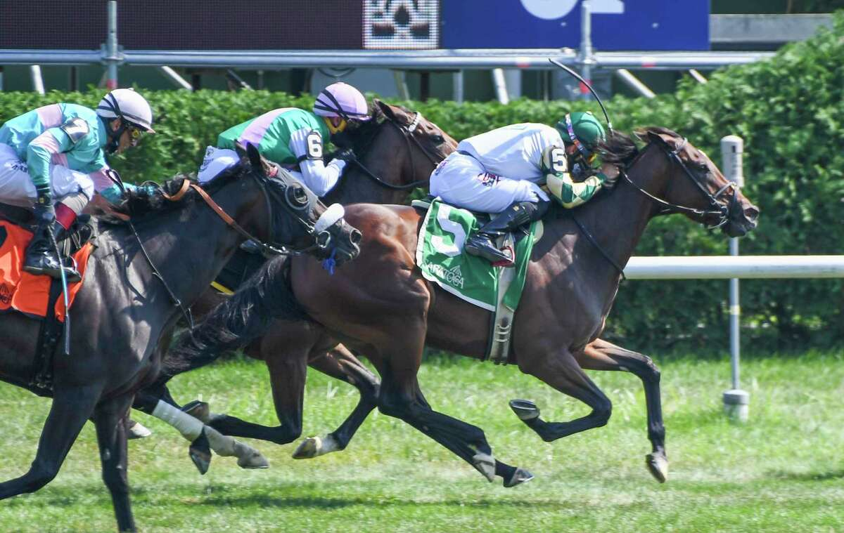 Feel Glorious ridden by Junior Alvarado moves out in front of the rest of the field to win the 7th running of The Perfect Sting Friday Aug.14, 2020 at the Saratoga Race Course in Saratoga Springs, N.Y. Photo by Skip Dickstein/Special to the Times Union