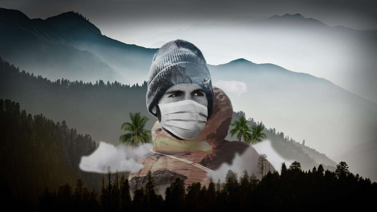 A hiker is superimposed with the variety of locales in California, from the natural splendors of Yosemite to the glorious coastline and the mountains of in the North. Chronicle photo illustration.