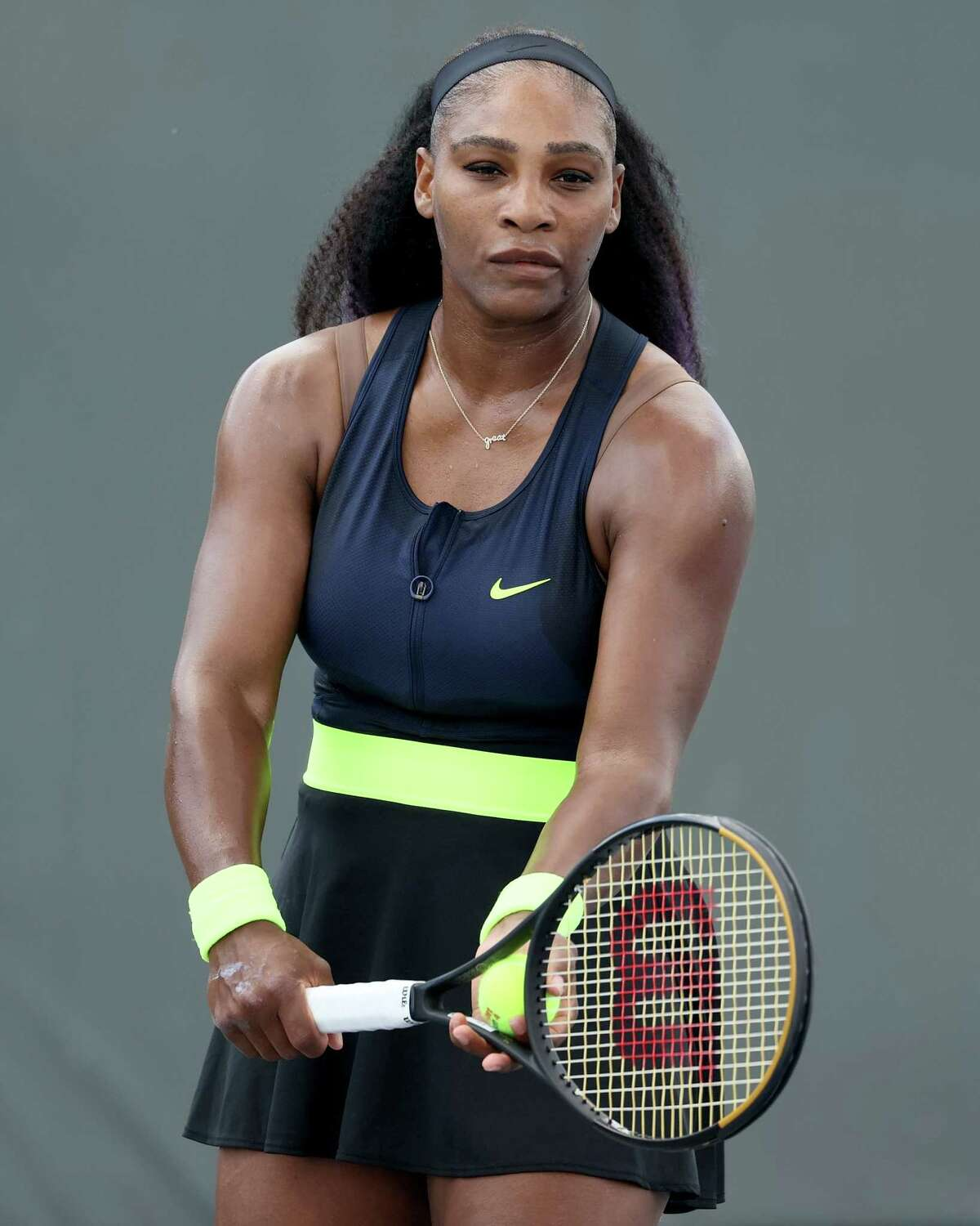 LEXINGTON, KENTUCKY - AUGUST 13: Serena Williams serves during her match against Venus Williams during Top Seed Open - Day 4 at the Top Seed Tennis Club on August 13, 2020 in Lexington, Kentucky. (Photo by Dylan Buell/Getty Images)