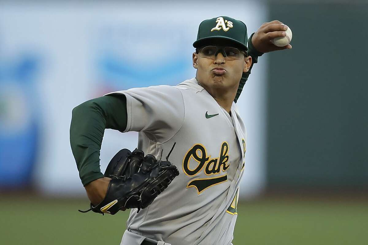 Oakland Athletics pitcher Jesus Luzardo works against the San Francisco Giants in the first inning of a baseball game Friday, Aug. 14, 2020, in San Francisco. (AP Photo/Ben Margot)
